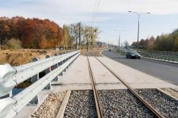 Linia tramwajowa przy ulicy Tuwima (31 października 2015) - most nad Łyną