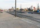 Linia tramwajowa na placu Konstytucji 3 Maja (31 października 2015) - przystanek końcowy Dworzec Główny