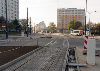 Linia tramwajowa na placu Konstytucji 3 Maja (31 października 2015)