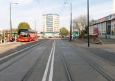 Linia tramwajowa w ulicy Kościuszki (31 października 2015) - skrzyżowanie z ulicą Jasną