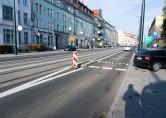 Linia tramwajowa w ulicy Kościuszki (31 października 2015) - przystanek wiedeński Kętrzyńskiego w kierunku Dworca Głównego
