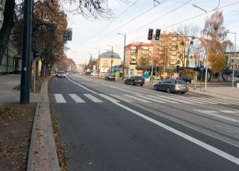 Linia tramwajowa w ulicy Kościuszki (31 października 2015) - skrzyżowanie z ulicą Kołobrzeską