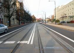 Linia tramwajowa w ulicy Kościuszki (31 października 2015)