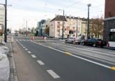 Linia tramwajowa w alei Piłsudskiego (31 października 2015) - skrzyżowanie z ulicą Kościuszki