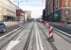 Linia tramwajowa w alei Piłsudskiego (31 października 2015) - skrzyżowanie z ulicą Plater