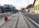 Linia tramwajowa w alei Piłsudskiego (31 października 2015) - skrzyżowanie z ulicą Kopernika