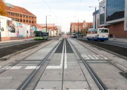 Linia tramwajowa w alei Piłsudskiego (31 października 2015)