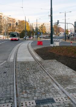 Linia tramwajowa na placu Jana Pawła II (31 października 2015)