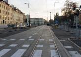 Linia tramwajowa w ulicy Kościuszki (31 października 2015) - skrzyżowanie z ulicą Reja