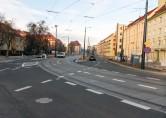 Linia tramwajowa w ulicy Kościuszki (31 października 2015) - skrzyżowanie z ulicą Żołnierską
