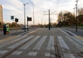 Linia tramwajowa przy ulicy Obiegowej (31 października 2015) - przystanek Szpital Wojewódzki