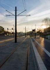 Linia tramwajowa przy ulicy Obiegowej (31 października 2015) - przystanek Obiegowa