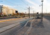 Linia tramwajowa przy alei Sikorskiego (31 października 2015) - przystanek Dywizjonu 303