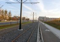 Linia tramwajowa przy alei Sikorskiego (31 października 2015)