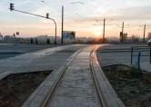 Linia tramwajowa przy ulicy Witosa (31 października 2015) - skrzyżowanie z ulicą Płoskiego
