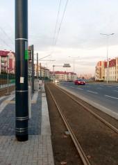 Linia tramwajowa przy ulicy Witosa (31 października 2015) - przystanek Płoskiego