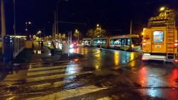 Solaris Tramino Olsztyn S111O #3001 na ulicy Towarowej podczas pierwszego przejazdu próbnego (19 listopada 2015)