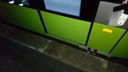 Solaris Tramino Olsztyn S111O #3001 na przystanku Dworzec Główny podczas pierwszego przejazdu próbnego (19 listopada 2015) Fot. Paweł Bukowski