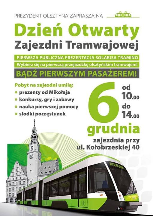 Plakat reklamujący dzień otwarty zajezdni tramwajowej (6 grudnia 2015)