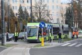 Solaris Tramino Olsztyn S111O #3004 w alei Piłsudskiego (19 grudnia 2015)