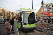 Solaris Tramino Olsztyn S111O #3004 wjeżdża na plac Jana Pawła II (19 grudnia 2015)