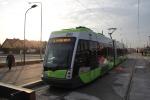 Solaris Tramino Olsztyn S111O #3002 na przystanku końcowym Kanta (19 grudnia2015)