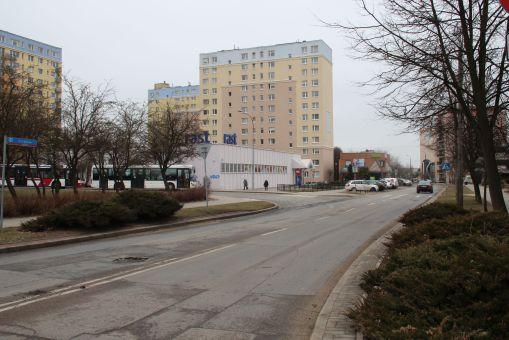 Ulica Barcza przy pętli autobusowej Nagórki