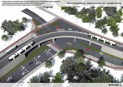 Wizualizacja torowiska tramwajowego na skrzyżowaniu ulic Krasickiego i Synów Pułku (wariant 3)