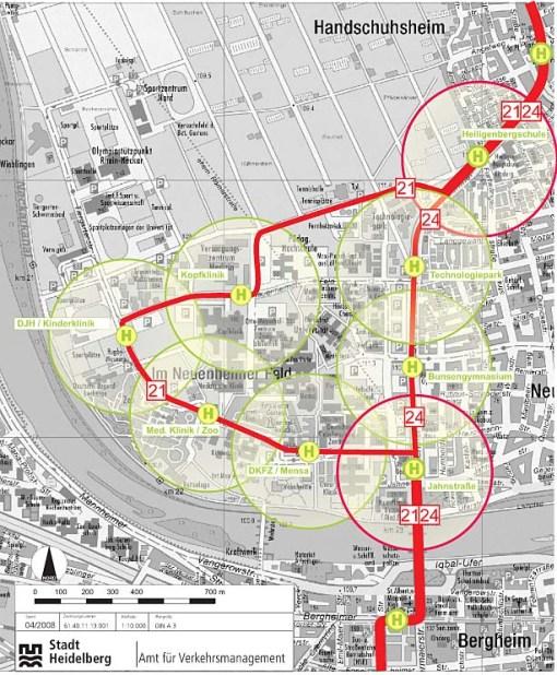 Tramwaj w kampusie Uniwersytetu w Heidelbergu