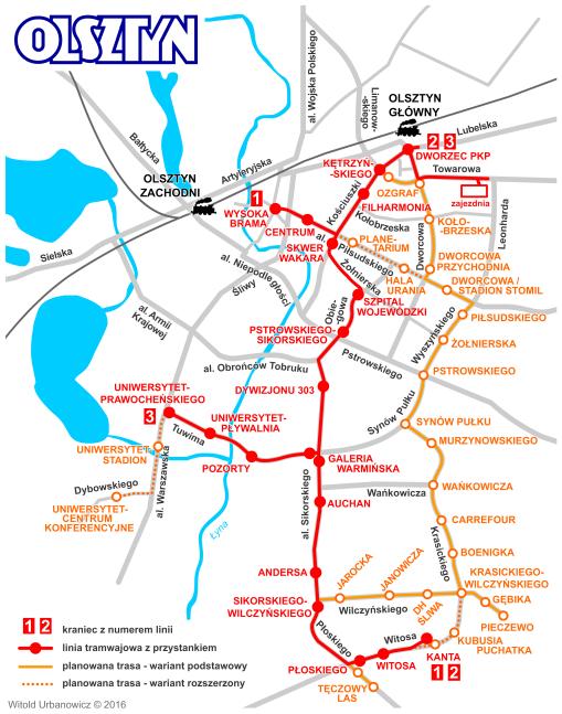 Schemat olsztyńskiej sieci tramwajowej z trasami II etapu (z przystankami)