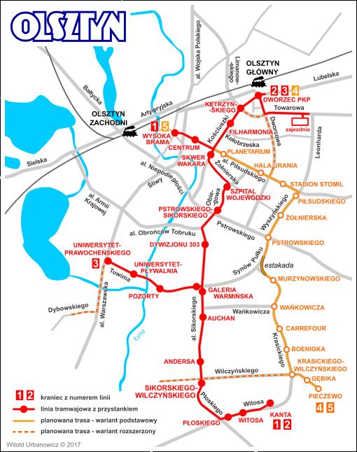 Schemat olsztyńskiej sieci tramwajowej z trasami II etapu (z liniami i przystankami I podetapu)