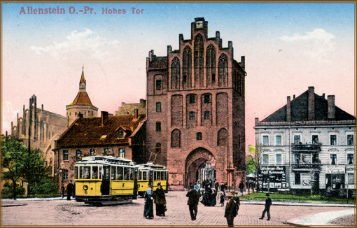 Pocztówka przedstawiająca tramwaje przed Wysoką Bramą
