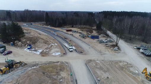 Budowa nowego przebiegu ulicy Pstrowskiego (15 stycznia 2018)