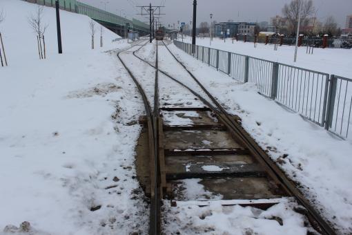Tymczasowa krańcówka na przystanku Stare Świdry w Warszawie (27 stycznia 2013)