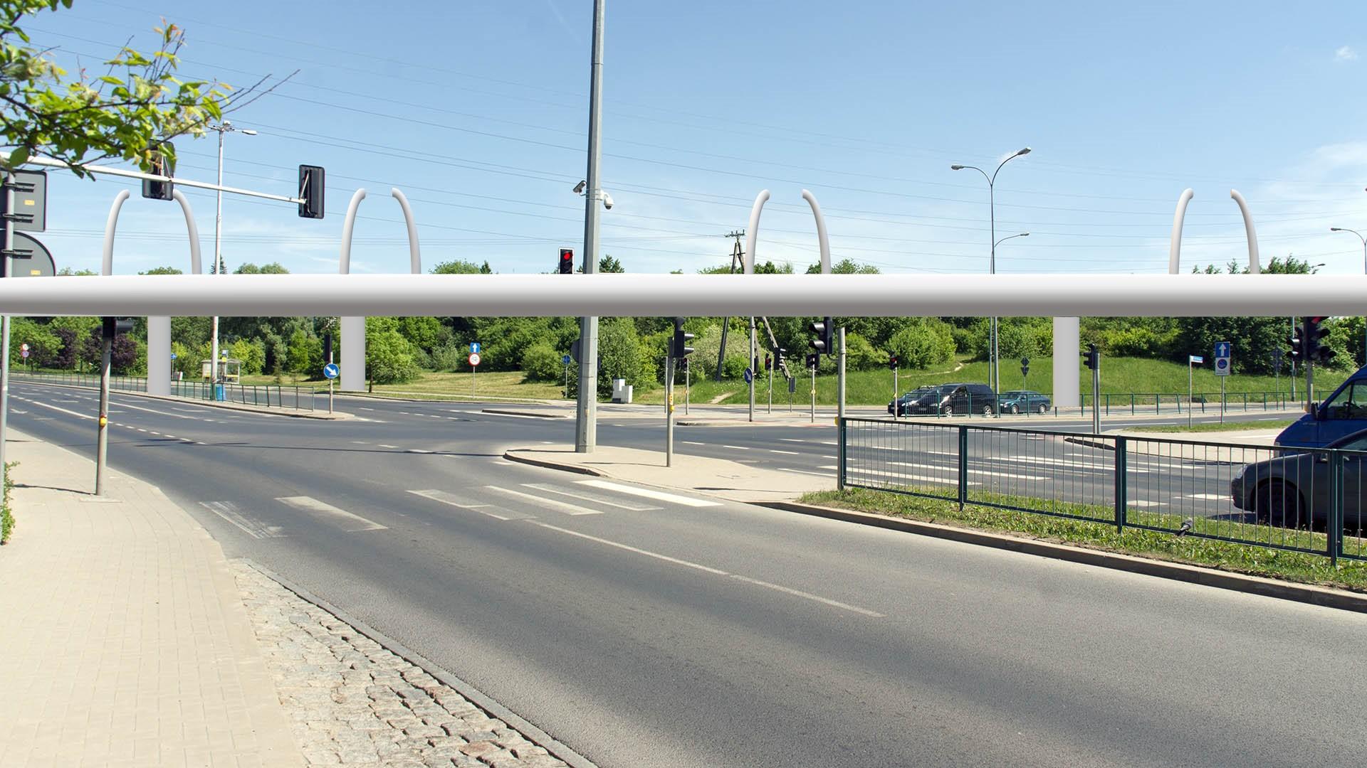 Wizualizacja fragmentu estakady tramwajowej nad skrzyżowaniem ulic Synów Pułku i Krasickiego