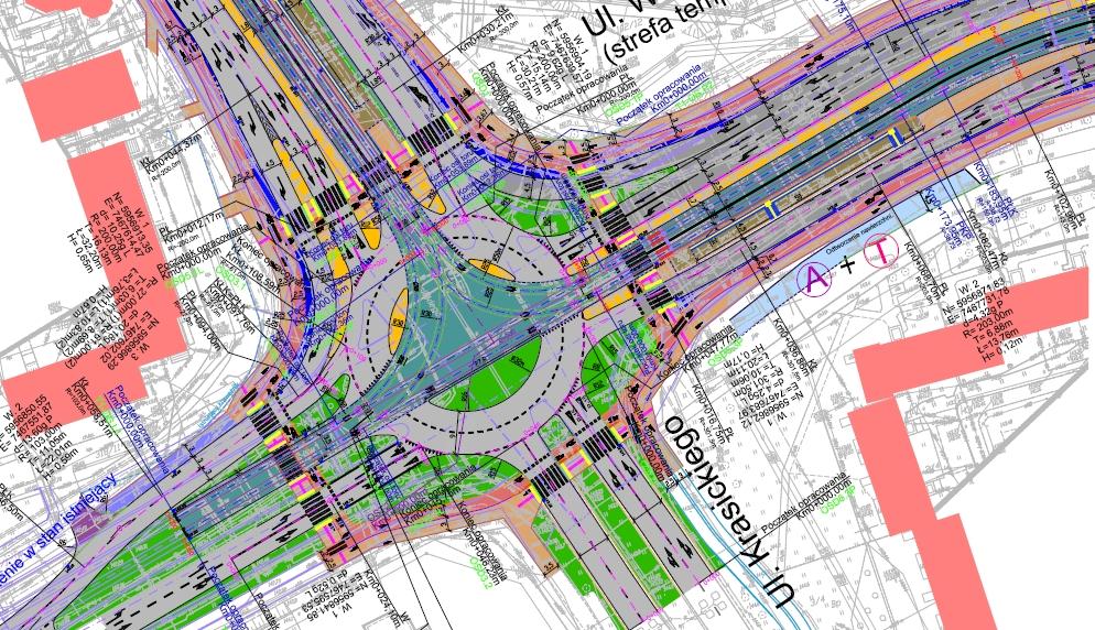 Skrzyżowanie ulic Krasickiego i Wilczyńskiego po wybudowaniu linii tramwajowej (projekt)