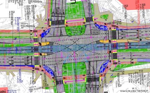 Plac Inwalidów Wojennych po wybudowaniu linii tramwajowej (projekt)