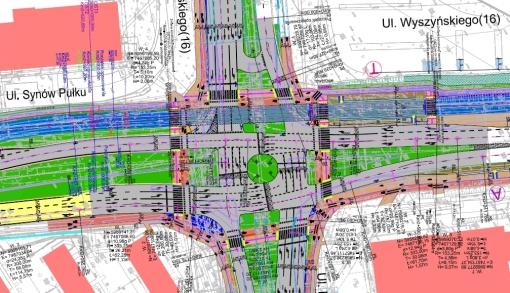 Skrzyżowanie ulic Pstrowskiego, Wyszyńskiego i Synów Pułku po wybudowaniu linii tramwajowej (projekt)