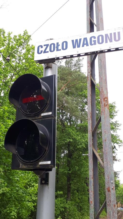Sygnalizator tramwajowy ST na pętli Boernerowo w Warszawie (17 maja 2020)