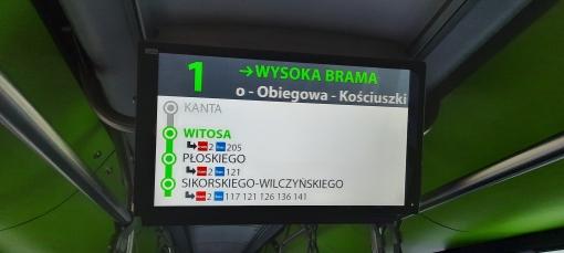 Wyświetlacz podsufitowy wewnętrznej informacji pasażerskiej w Solarisie Tramino S111O