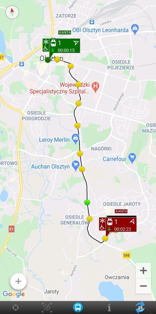 Prezentacja pojazdów na mapie w czasie rzeczywistym w aplikacji MyBus (linia 1)