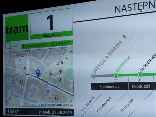 Wyświetlacz boczny wewnętrznej informacji pasażerskiej w Solarisie Tramino S111O - pozycja pojazdu na mapie w czasie rzeczywistym