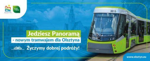 Grafika na wyświetlaczu wewnętrznym tramwaju promująca Durmazlara Panoramę
