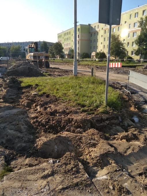 Budowa linii tramwajowej w ulicy Wilczyńskiego, w okolicach pętli Pieczewo (13 sierpnia 2021)