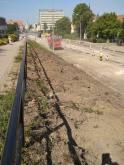 Budowa linii tramwajowej w alei Piłsudskiego, w okolicach skrzyżowania z ulicą Narutowicza (13 sierpnia 2021)