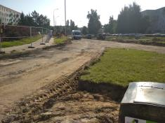 Budowa linii tramwajowej w ulicy Wilczyńskiego, w okolicach skrzyżowania z ulicą Krasickiego (13 sierpnia 2021)