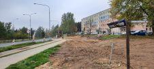 Budowa linii tramwajowej w ulicy Krasickiego, w pobliżu skrzyżowania z ulicą Wańkowicza (2 października 2021)