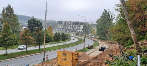 Budowa linii tramwajowej w ulicy Krasickiego, między ulicami Wańkowicza i Barcza (2 października 2021)