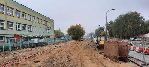 Budowa linii tramwajowej w ulicy Wyszyńskiego, między aleją Piłsudskiego a ulicą Żołnierską (2 października 2021)
